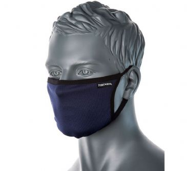 Portwest CV30 - 3-Ply Fabric Face Mask (Navy)
